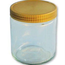Neutrales Honigglas 500g mit Plastikdeckel gold