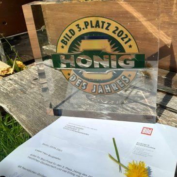 3. Platz in Deutschland, Bild Honigprämierung 2021